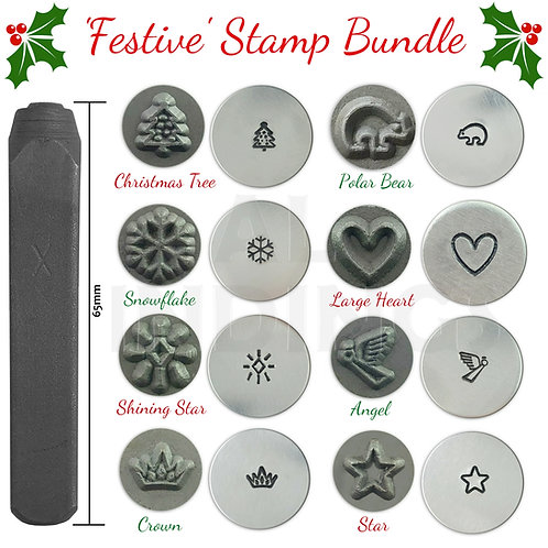 Set of 8 Christmas Metal Punch Stamps