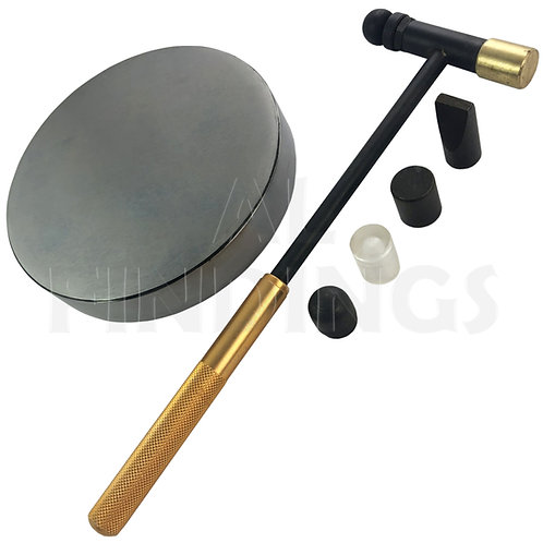 Round Steel Bench Block Anvil (100x18mm) & Rose Gold 6 Part Hammer