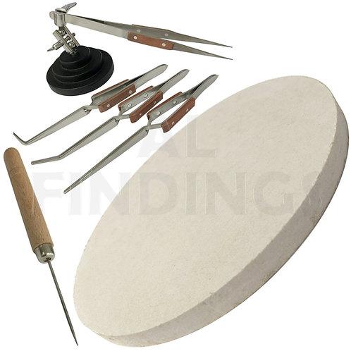 3rd Hand Base Vice & 4 Angled Tweezers + Soldering Board & Pick Set
