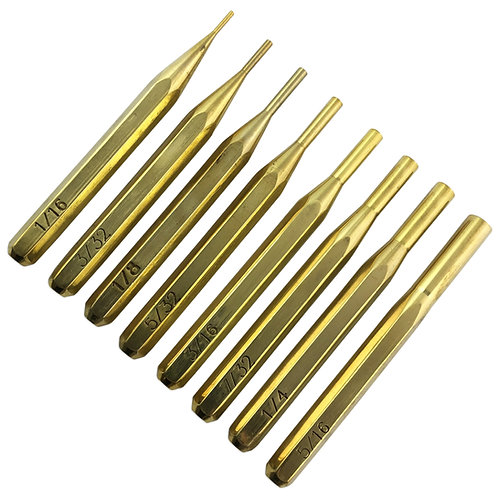 """8pc Hexagonal Brass Punch Set : 1/16 - 5/16"""""""