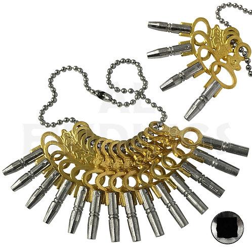 Set of 14 Pocket Watch Keys Size 00-12