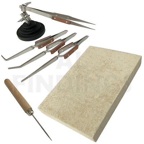 3rd Hand Base Vice &  4 Angled Tweezers + Soldering 100x150 Board + Pick