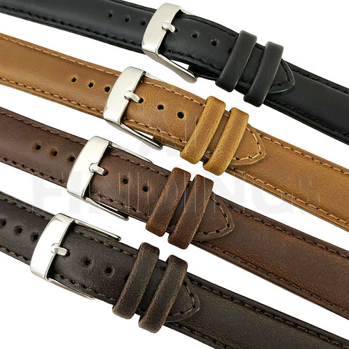 Genuine Leather English Calf 'Oily' Watch Strap Range : Various Colours