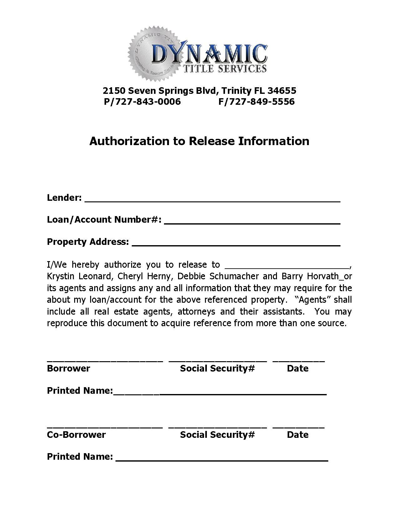Authorization to Release