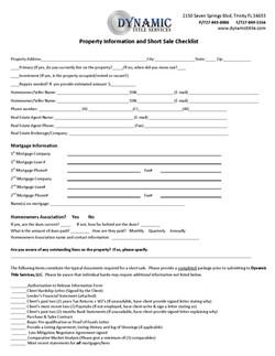 Property & Short Sale Checklist