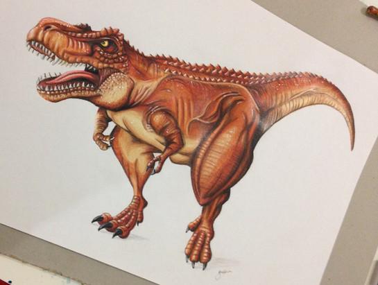 T-rex pencil illustration