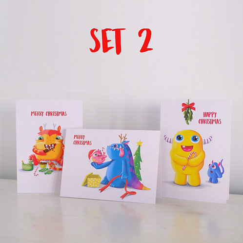 Monster Christmas cards - Set 2 - limited stock