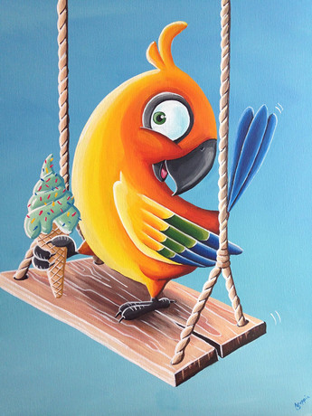 Happy Parrot Canvas Painting
