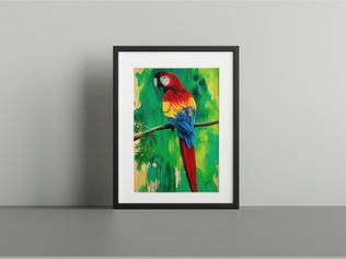 scarlett macaw framed print