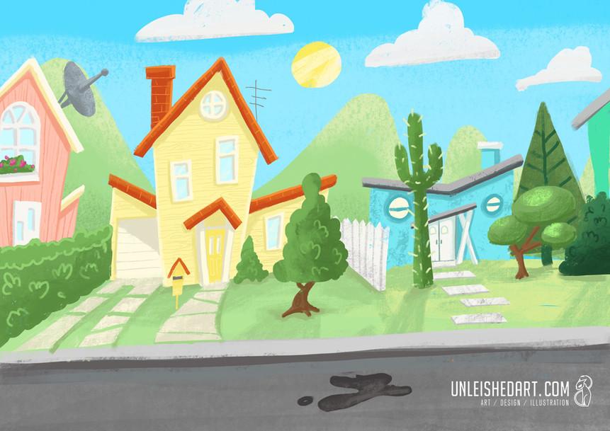 suburbia illustration