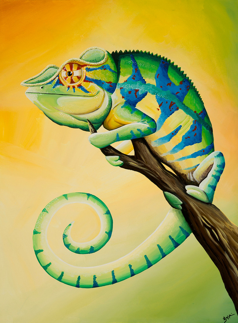 chameleon canvas painting