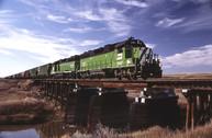 Two Burlington Northern GP 38's head toward Plentywood from Scobey, Montana