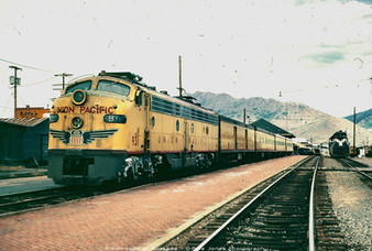 Westbound Union Pacific Butte Special at Butte Station - July 1970