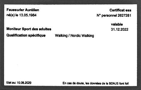 Certification de Aurelien Faussurier pour le nordic walking