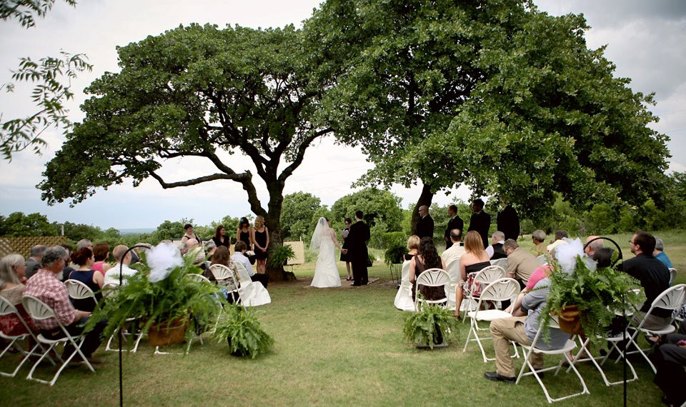 A wedding under the trees