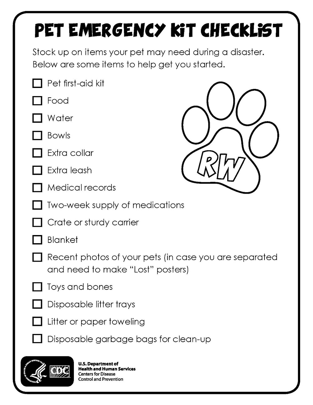 Pet Emergency Kit Checklist