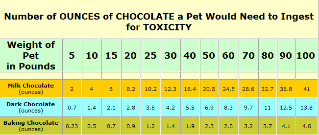 Chocolate toxicity table