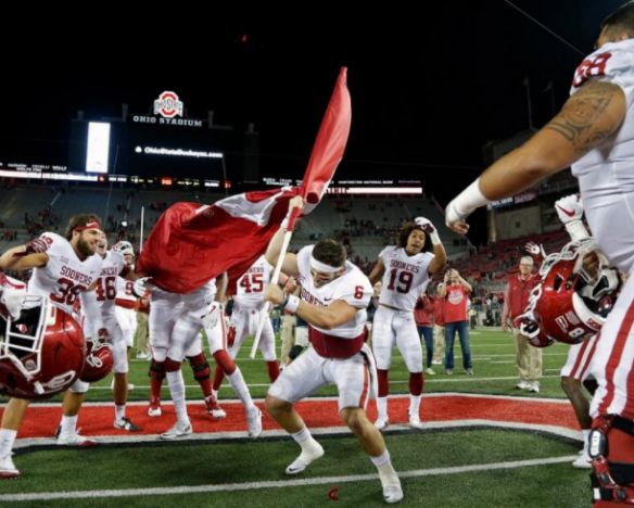 Baker Mayfield planting the flag at Ohio State Stadium
