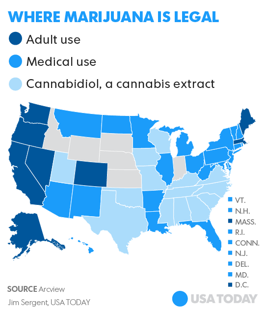 Graphic of where marijuana is legal