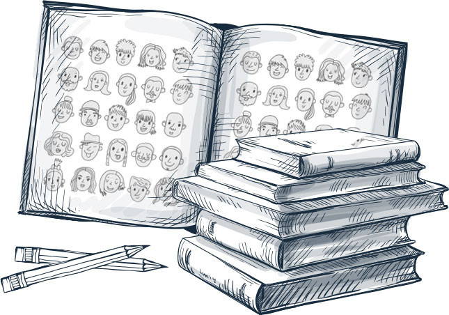 pencil sketch of a yearbook