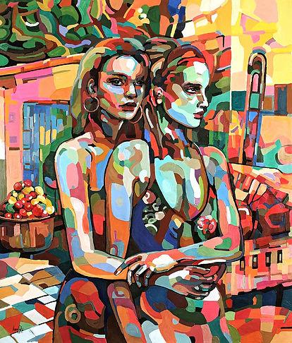 thumbnail_Noemi Safir_Two girls at Twilight_140 120 cm_2019_Acrylic on canvas_12400 Euro.j