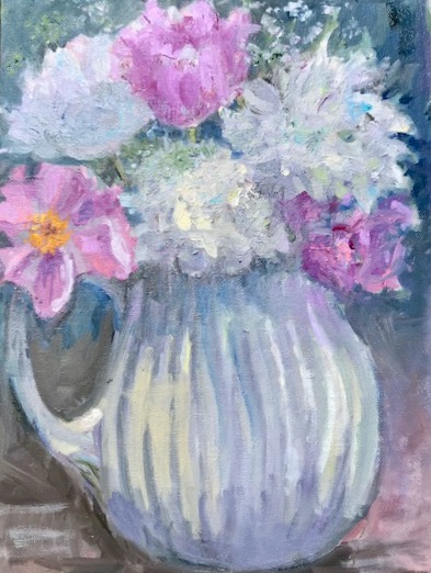 Peonies in a white Pitcher