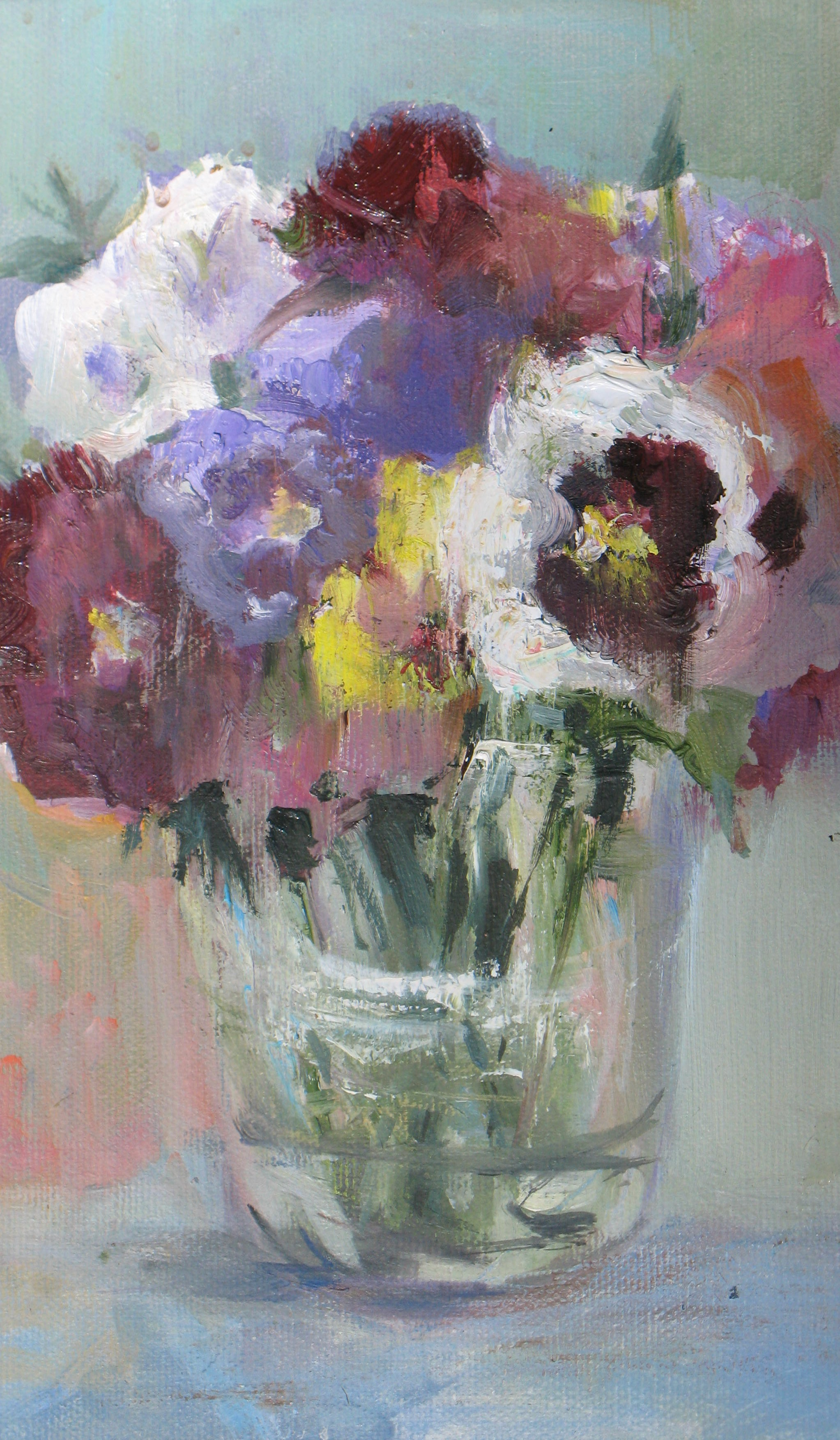 Pansies, oil, 8%22x10%22