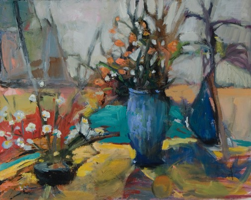 Arrangement in Blue and Yellow oil 20%22
