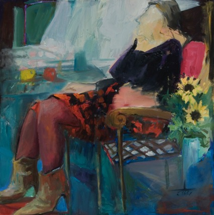 Woman in a Window, oil, 30%22x30%22