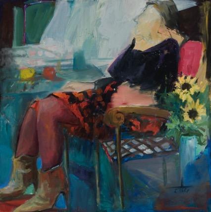 Woman in a Window, oil, 30%22x30%22
