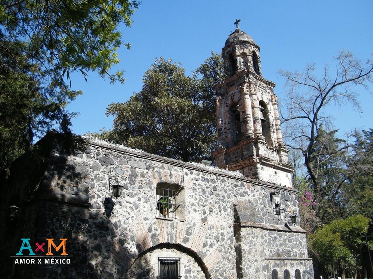 Vista posterior de la Parroquia de San Sebastián Mártir en Chimalistac