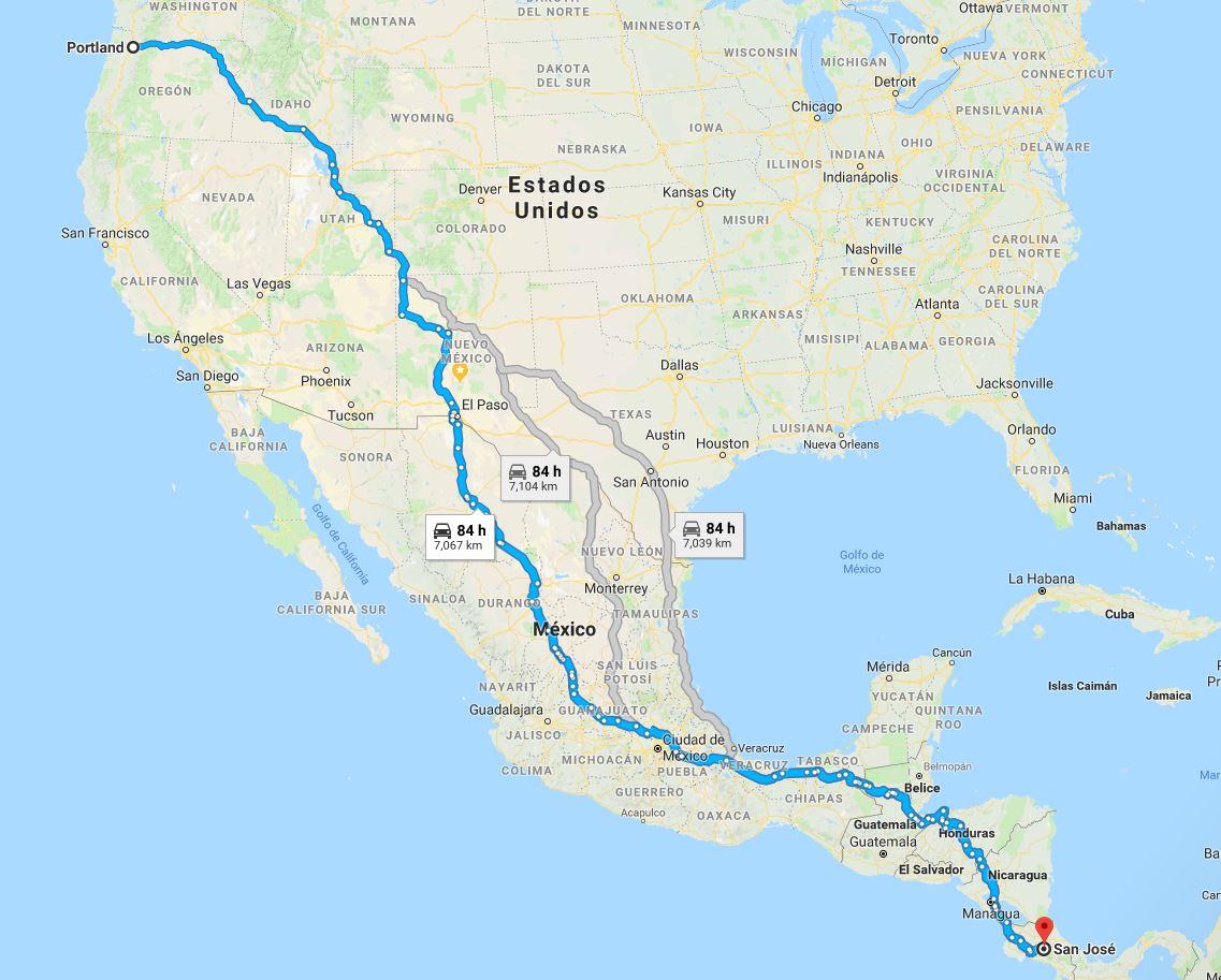 Comparación del trayecto realizándolo  desde Estados Unidos hacia el sudamerica.