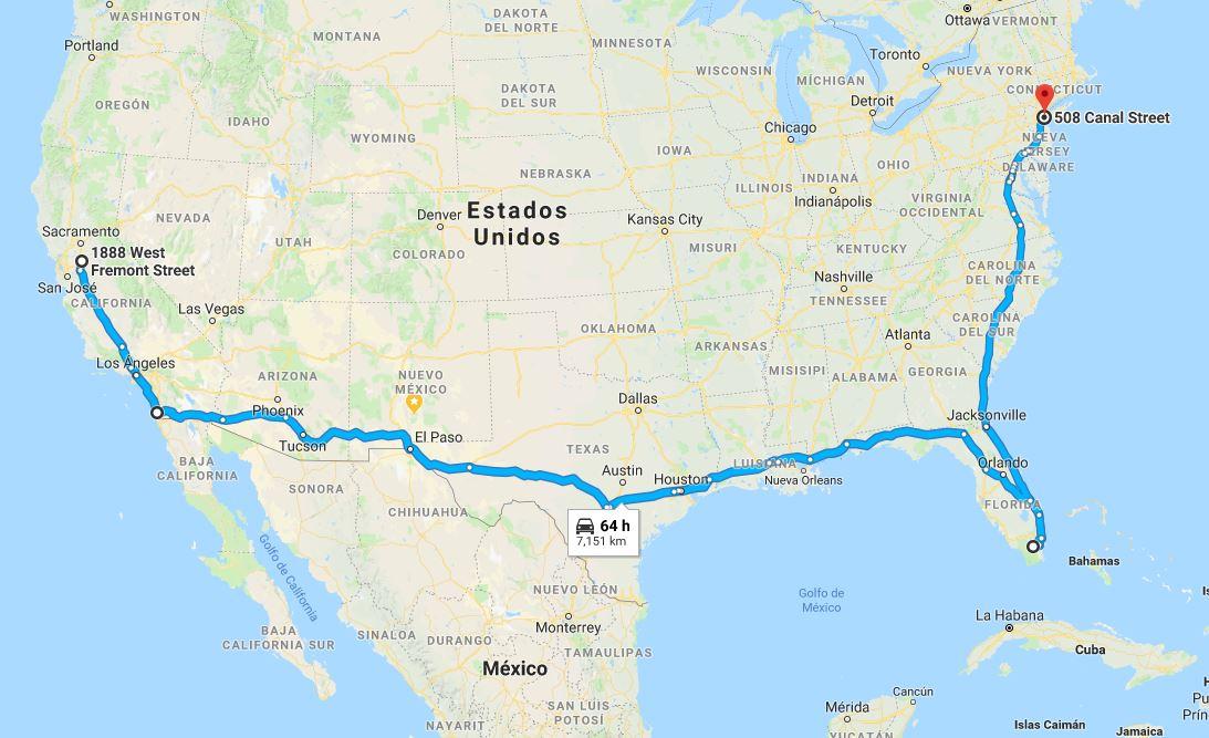 Comparación del trayecto realizándolo  dentro de la unión americana.