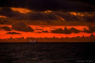 Cruzando el mar Caribe antes del amanecer