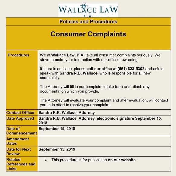 Consumer Complaints Procedures - Pillar