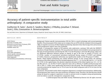 Dr. Guilherme publicou artigo na revista Foot and Ankle Surgery