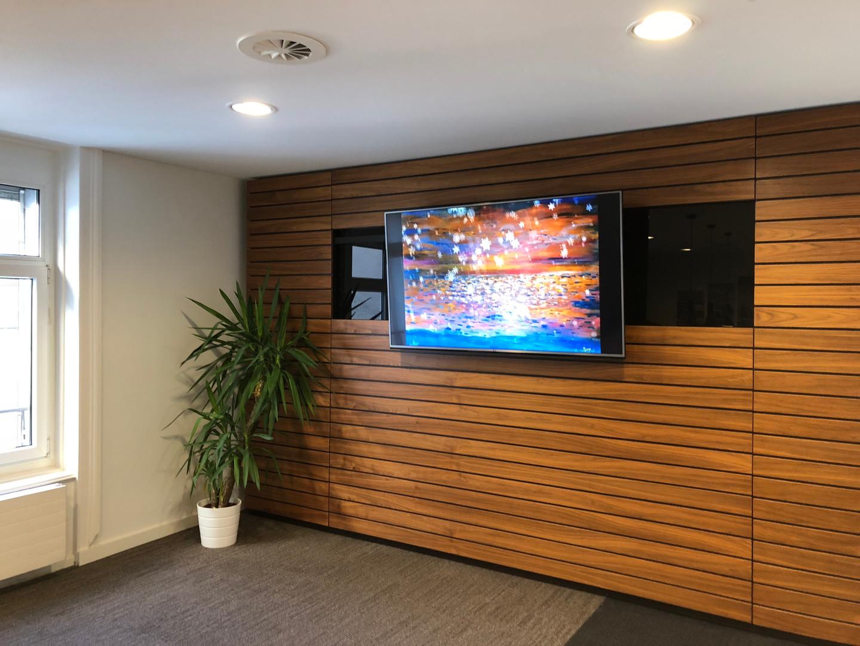 Digital art in business lounge