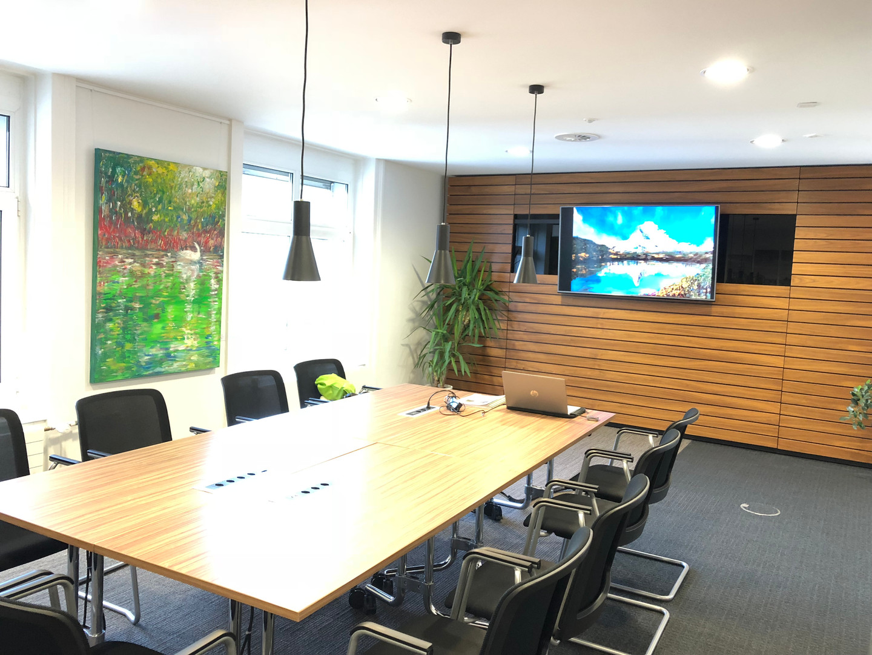 Digital film in business lounge