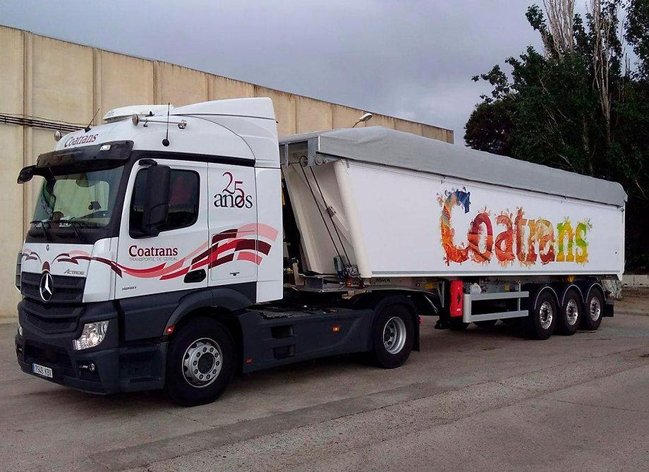 Rotulacion camion COATRANS transporte de cereal Zaragoza Huesca y Teruel