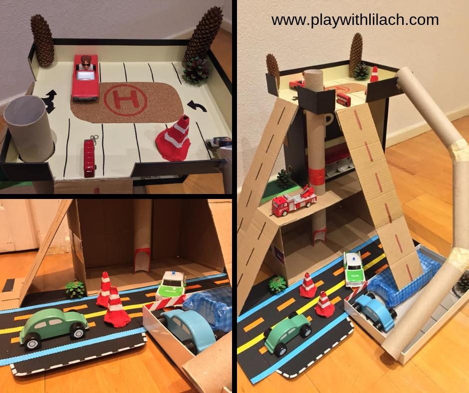 משחק מכוניות diy מגרש חניון מכוניות לילדים play with lilach