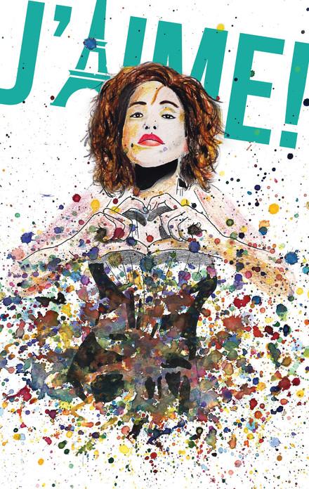 פלייר למופע מוזיקלי של הזמרת ריף כהן, צבעי עיפרון, מים ואותיות וקטוריות