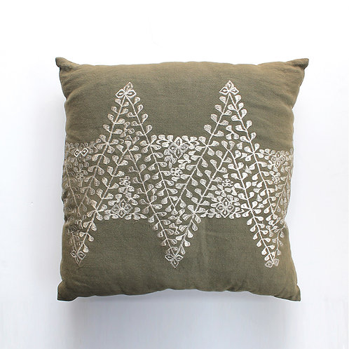 Olive Embroidered Cushion