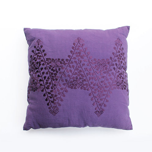 Purple Embroidered Cushion - Large