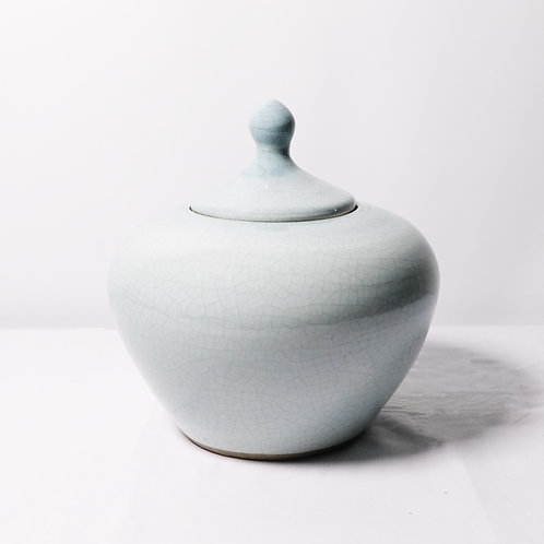 Decorative Blue Pot with Lid - Small