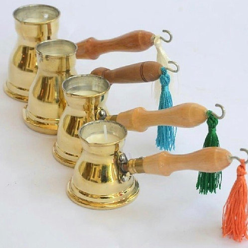 Coffee pot brass with candle
