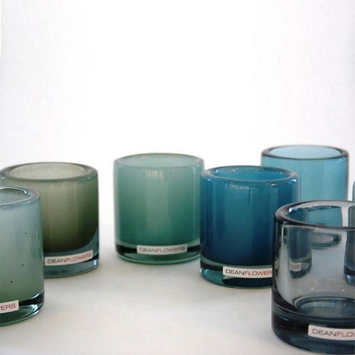 Glass Candle Holder - Lagoon Blue
