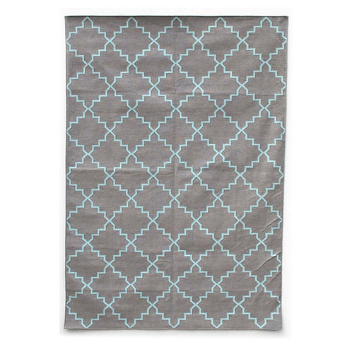 Grey & Turquoise Cotton Dhurrie