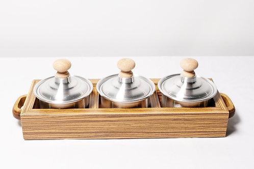 Tray With Three Tin Pots