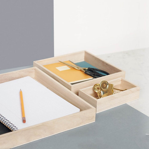 Graphic Print Wooden Trays Set