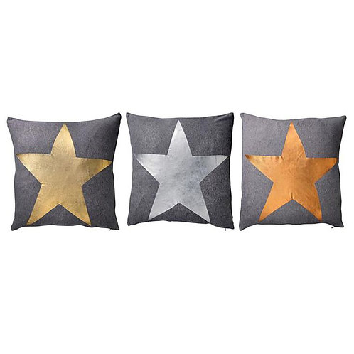 Gray Cushion with Star Print (Single)